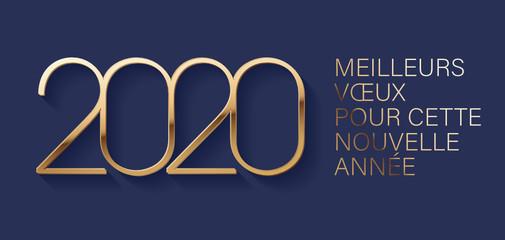 carte de vœux 2020 Carte de vœux 2020   Nouvel an, texte en Français   Buy this stock