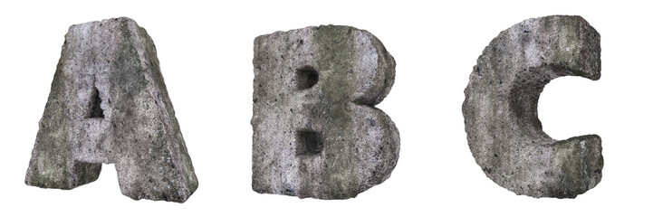 Abstract Old Concrete Letters A B C