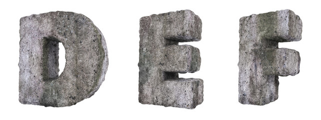 Abstract Old Concrete Letters D E F