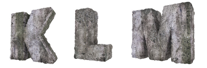 Abstract Old Concrete Letters K L M
