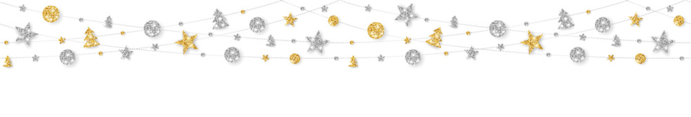 Wall Mural - Vector seamless decoration. Gold and silver ornaments on white background.
