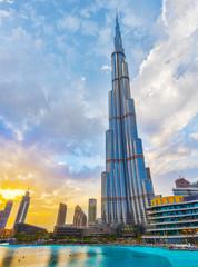 Burj Khalifa Skyscraper at Sunset