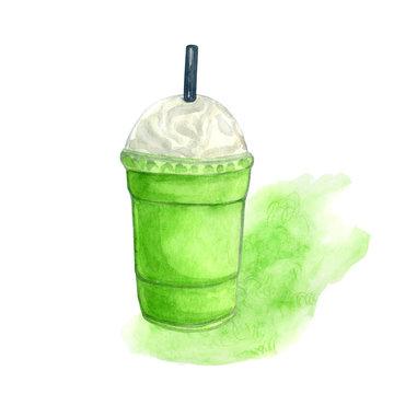 watercolor matcha latte. Green tea