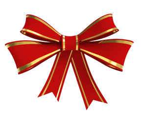 Red Ribbon Bow with Golden Stripes