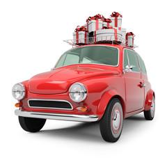 Small Retro Christmas Car on White Background