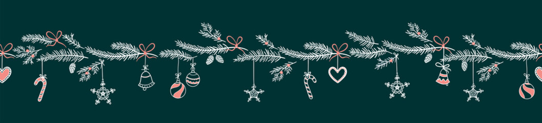 Cute hand drawn horizontal seamless pattern with fir branches and hanging decoration, great for christmas banners, wallpapers, wrapping, textiles - vector design
