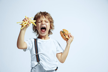 Pretty young curly boy in casual clothes on white studio background. Eating burger with fried potato. Caucasian male preschooler with bright facial emotions. Childhood, expression, fun, fast food.