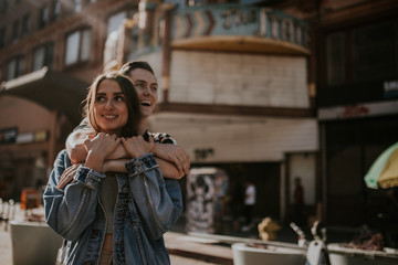 Young couple embracing on urban exploration
