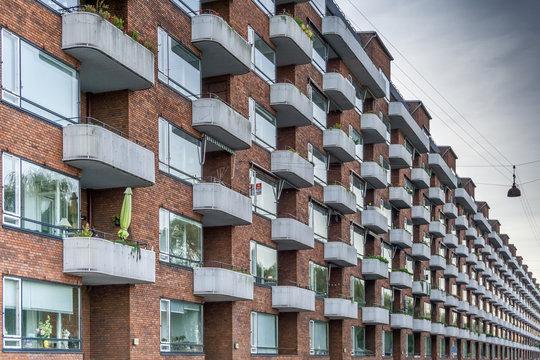 Vestersøhus—one of the most important works of Danish functionalism. Residential condominium building in Vestebro, Copenhagen, Denmark.