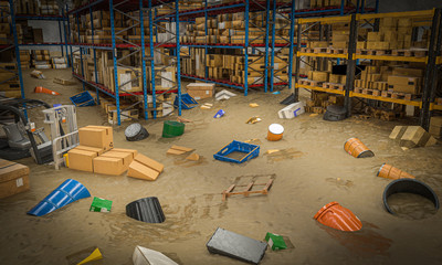 interior of a warehouse full of goods damaged by a flood of water and mud.