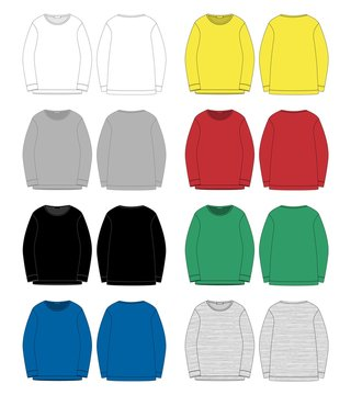 Set of technical sketch for men sweatshirt. Front and back view.