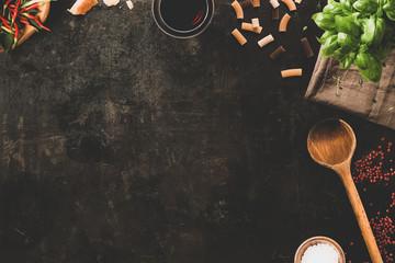 Italian cooking  - fresh ingredients - pasta, wine, basil, cheese - modern food background