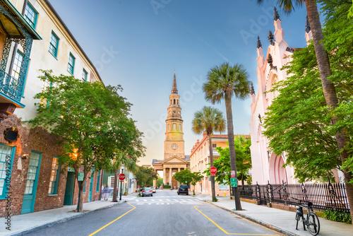 Fototapete Charleston, South Carolina, USA view of the French Quarter