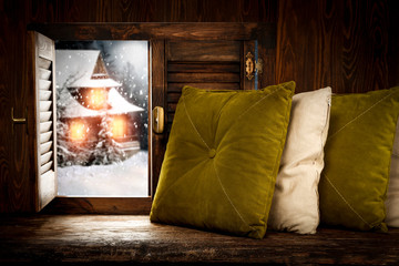 Winter wooden old retro window sill and pillows.Free space for your decoration and christmas...