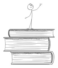 Vector cartoon stick figure drawing conceptual illustration of man standing on pile of big books and praising education and knowledge.