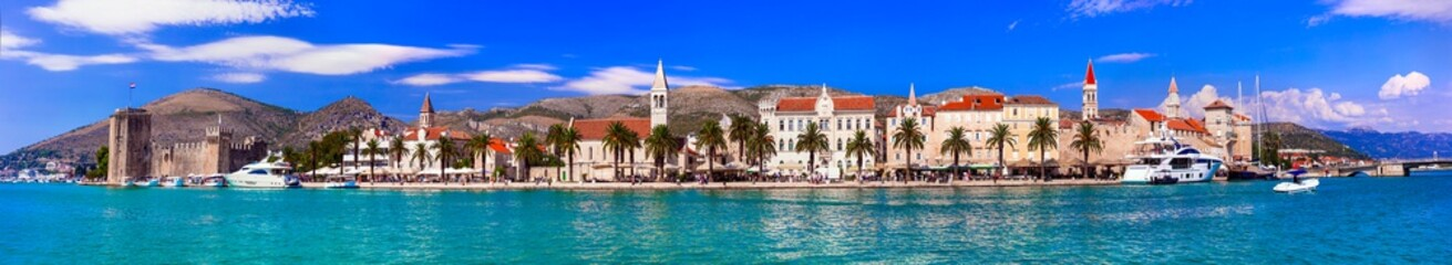 Panoramic view of Trogir town in Croatia, popular tourist destination and historic place in Dalmatia