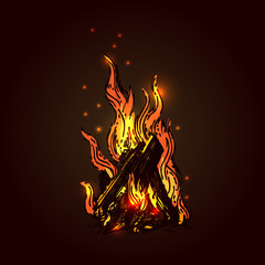 Campfire sketch vector illustration. Hand drawn style picture could be used for web