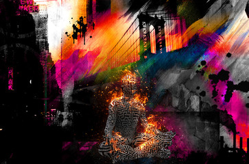 Colorful painting. Manhattan bridge. Burning figure of man in lotus pose.