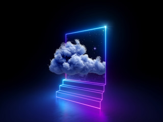 3d cloud going through square window isolated on black background. Starry night sky. Abstract dreaming metaphor. Glowing pink blue neon lines. Virtual reality. Ultraviolet light