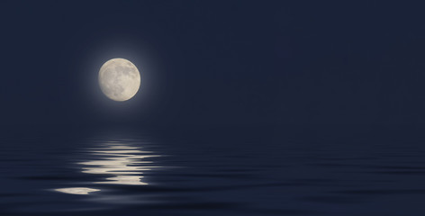 full moon in the sky on a dark blue background reflection in the sea ocean water. 3D illustration 3D render