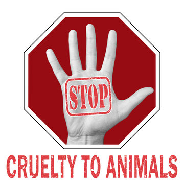 Stop cruelty animals conceptual illustration. Open hand with the text stop cruelty animals.
