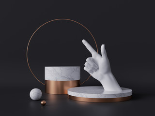 3d rendering of white hand, pointing finger, recommendation concept, marble pedestal isolated on black background, gold round frame, blank cylinder podium, simple clean design, luxury minimal mockup