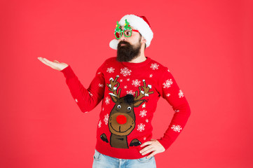 Sweater with deer. Clothes shop. Buy festive clothing. Holidays accessories. Hipster bearded man...