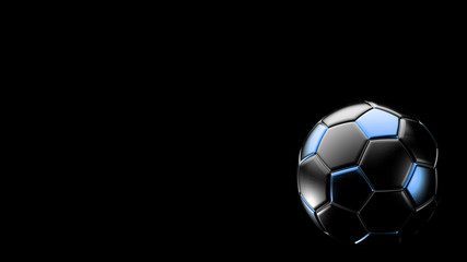 blue and black soccer metal ball isolated on black background. Football 3d render illlustration.