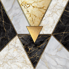 Ingelijste posters Geometrisch abstract art deco background, geometric pattern, modern mosaic inlay, creative textures of marble granite and gold, artificial stone, artistic marbled tile surface, fashion marbling illustration