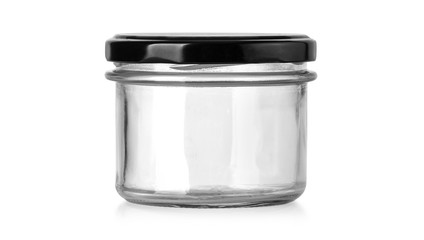 empty glass jar isolated