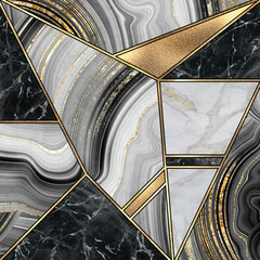 Ingelijste posters Geometrisch abstract minimalist art deco background, modern mosaic inlay, texture of marble granite agate and gold, artistic painted marbling, artificial stone, marbled tile surface, fashion marbling illustration
