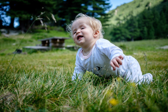Small baby exploring the nature