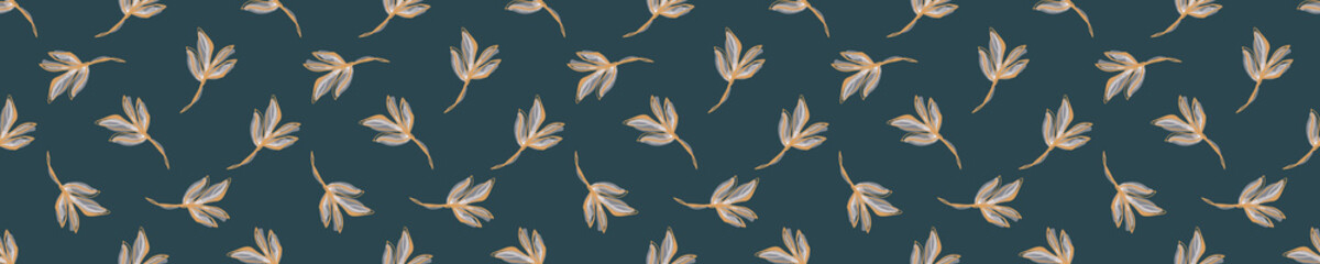 Watercolor Leaf Stem Vector Seamless Pattern. Drawn Leaves Stripe Hand Painted White Background. Autumn Fall Mood Wildflower Illustration. Faded Variegated Brown Garland Colors. Repeat Tile in EPS 10
