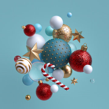3d Christmas ornaments levitating. Red blue white glass balls, candy cane, golden stars isolated on blue background. Arrangement of levitating objects. Winter holiday clip art.
