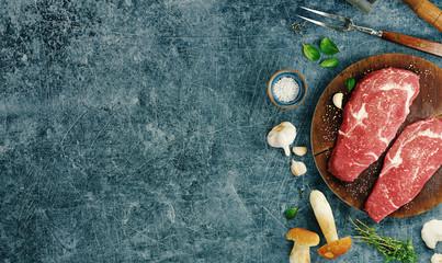 Top view of beef steaks with seasonings, 3d rendering