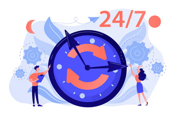 Businessman and woman near huge clock with round arrows working 24 7. 24 7 service, business time schedule, extended working hours concept. Pink coral blue vector isolated illustration