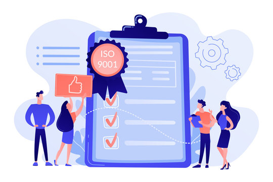 Tiny business people like standard for quality control. Standard for quality control, ISO 9001 standard, international certification concept. Pink coral blue vector isolated illustration