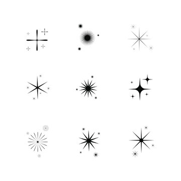 set of hand drawn doodle stars. star icon isolated on white background. Vector illustration