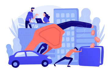 People loosing money by using gas fuel cars. Gas mileage, fuel saving and efficient green eco friendly engine technology concept. Pinkish coral blue palette. Vector illustration on white background.