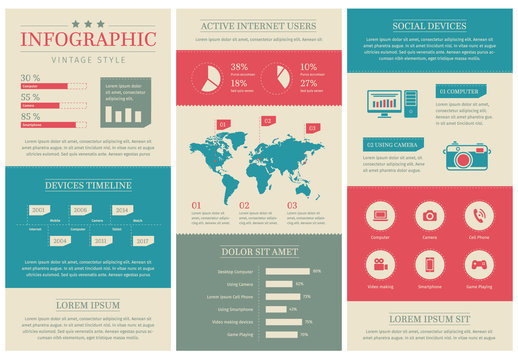 Infographic Set with Vintage Color Elements