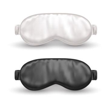 Set of isolated white and black eye mask for sleep