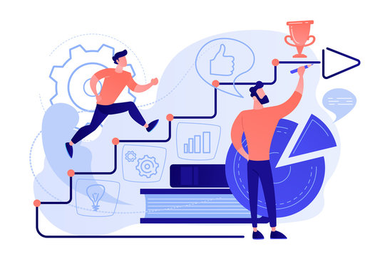 A man running up to the hand drawn stairs as a concept of coaching, business training, goal achievment, success, progress, carreer ladder, pinkish coral blue palette. Vector illustration on white