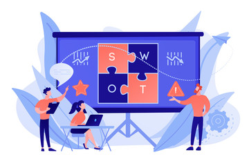 SWOT analysis team working on list of your opportunities, strategizing and monitoring. SWOT analysis and matrix, strategic planning concept. Pinkish coral bluevector isolated illustration