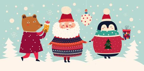 Fotomurales - Vector Christmas cartoon illustration of cute Santa Claus in sweater