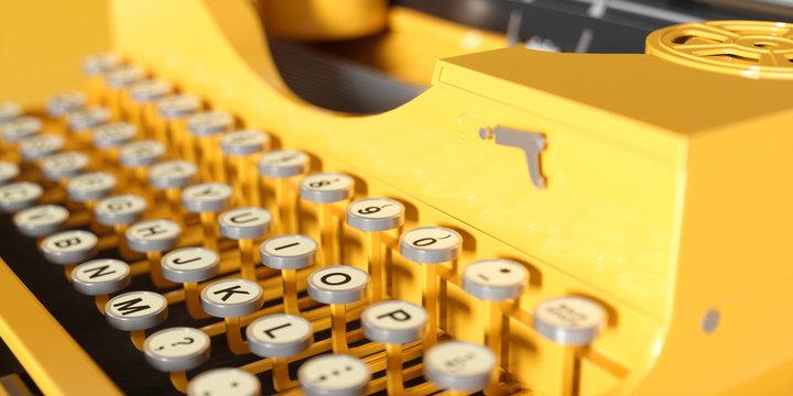 yellow retro typewriter close-up on a yellow background