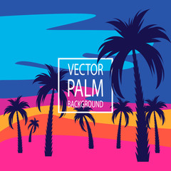Foto auf AluDibond Rosa Palm trees. Evening on the beach with palm trees. Palm tree background. For banners, t-shirts, advertising, etc.