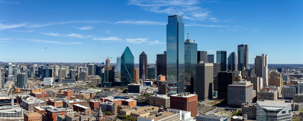 Autocollant pour porte Texas Dallas, Texas cityscape with blue sky at sunny day