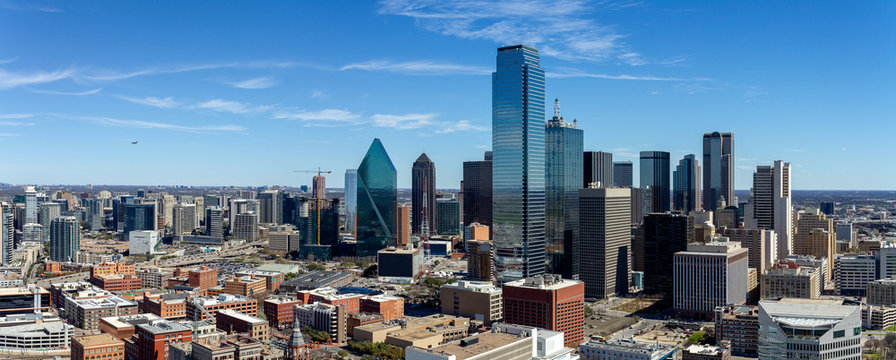 Dallas, Texas cityscape with blue sky at sunny day