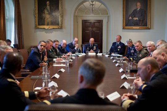 President Obama Meets with Combat Commanders in the Cabinet Room of the White House