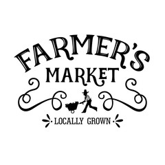 Farmers market locally grown vector design. Farmhouse decor.   Isolated on transparent background